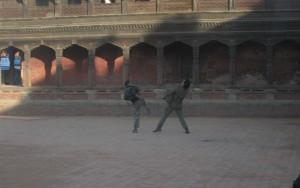 Rajesh Hamal filming at Bhaktapur October 2014