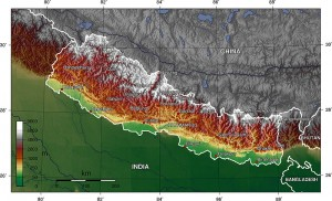 Nepal physical geography map